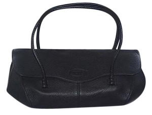 Tod's Classic Pebbled Leather Summer Winter Satchel in Black