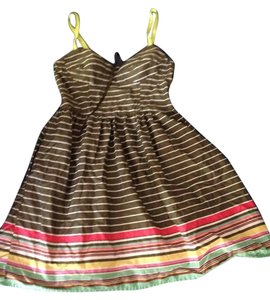 Mossimo Supply Co. short dress dark gray w/ white stripes-at the bottom: red, yellow,blue,purple stripes on Tradesy