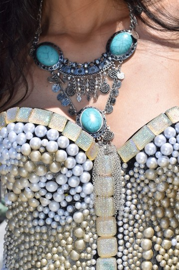 losangelesbeads Egyptian Plated Turquoise (Color) Stone Statement Necklace
