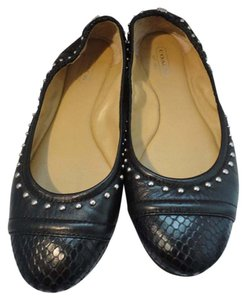 Coach Leather Cc Logo Silver Hardware Size 6.5 Black Flats