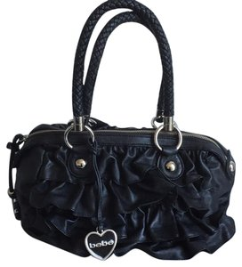 bebe Ruffles Braided Charms Satchel in Black