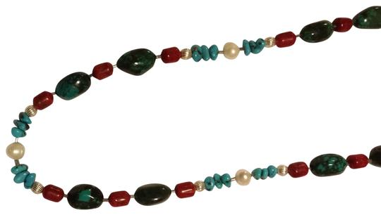 Preload https://item1.tradesy.com/images/turquoise-pearl-sunset-orange-and-green-and-black-ceramic-beads-funky-sophisticated-necklace-157000-0-0.jpg?width=440&height=440