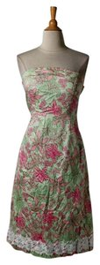 Green Maxi Dress by Lilly Pulitzer Strapless Cotton Small Floral