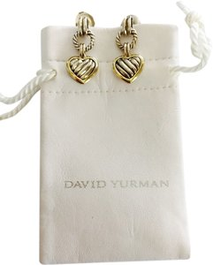 David Yurman David Yurman 18k Yellow Gold And Silver Heart Earrings With Original Pouch - excellent condition
