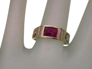Other Estate Vintage ladies 14k 2-Tone Ruby and Cubic Zirconia Gold Ring