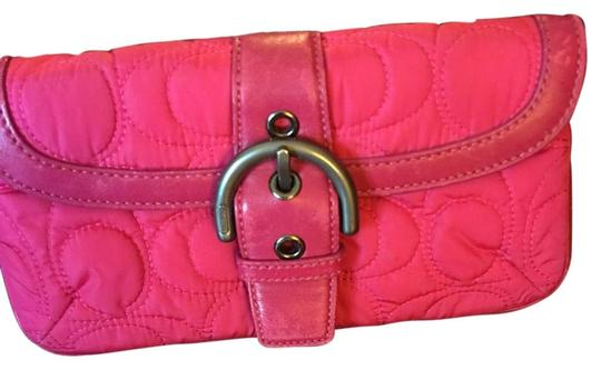 Preload https://item1.tradesy.com/images/coach-pink-cloth-and-leather-clutch-15700525-0-1.jpg?width=440&height=440
