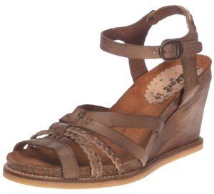 Kickers Leather Strappy Wedge Brown Sandals