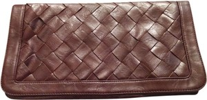 UE Criss Cross Brown Ox Blood Clutch