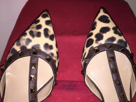Valentino Rockstud Calfhair Leopard Brown and Beige Pumps