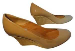 Lanvin Patent Leather Round Toe Tan Wedges