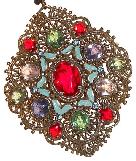 Preload https://img-static.tradesy.com/item/15701449/red-green-blue-pink-purple-3-by-2-12-large-vintage-gold-tone-rhinestone-pendant-necklace-0-1-540-540.jpg