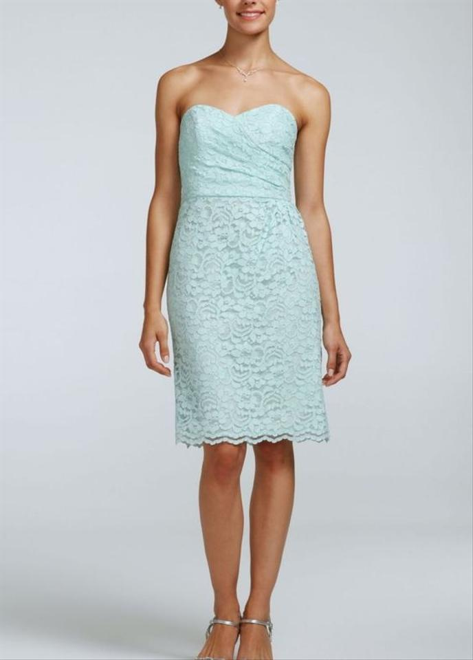 David\'s Bridal Mint Lace Short Strapless All Over Formal Bridesmaid ...