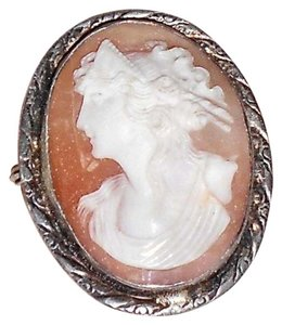 Other Vintage Silver Shell Cameo Pin,1 1/2