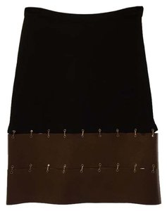 Max Mara Pencil Skirt Black with tan leather