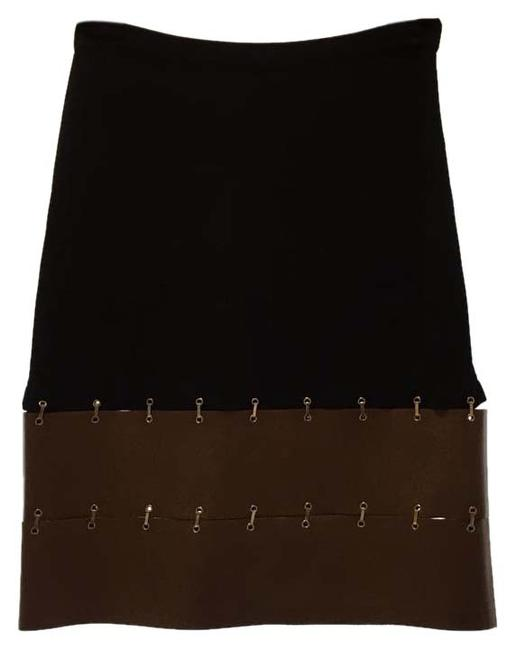 Preload https://item1.tradesy.com/images/max-mara-black-with-tan-leather-knee-length-skirt-size-8-m-29-30-15701920-0-1.jpg?width=400&height=650