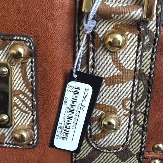 bebe Studded Crystals Leather Travel Tote in Cognac/Monogram