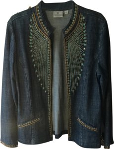 Chico's Denim/gold/teal Jacket