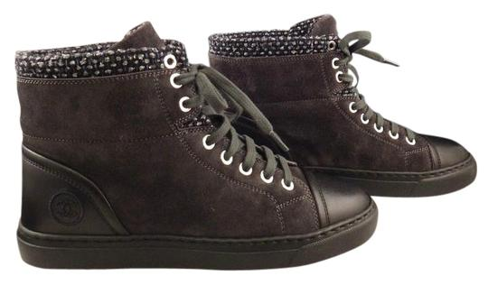 Preload https://item3.tradesy.com/images/chanel-grey-15a-black-suede-tweed-high-top-lace-up-sneaker-boot-385-sneakers-size-us-85-regular-m-b-15702322-0-1.jpg?width=440&height=440