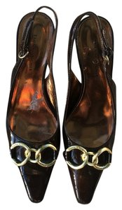 Etienne Aigner Patent Leather Brown Logo Link Stiletto Pumps