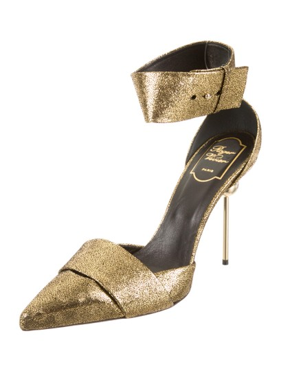 Roger Vivier Scotch Tape Gold Pumps