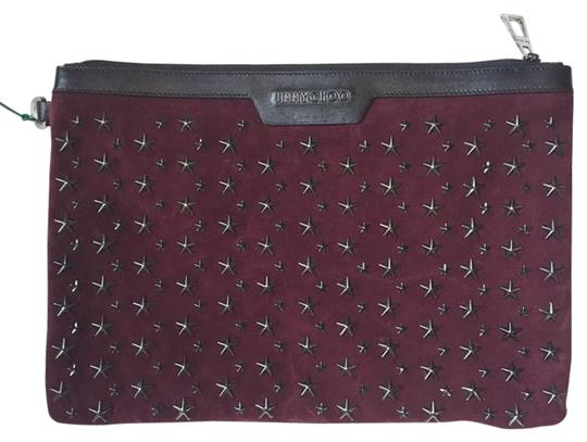 Preload https://img-static.tradesy.com/item/15703027/jimmy-choo-suede-star-oversized-burgundy-leather-clutch-0-2-540-540.jpg