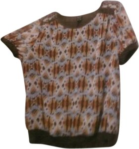 Nicole Top brown,orange,teal multi