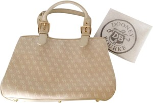 Dooney & Bourke Satchel in Beige, Brass tone hardware