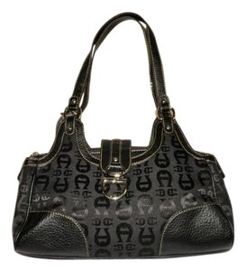 Etienne Aigner Zipper Snap Emblem Shoulder Bag