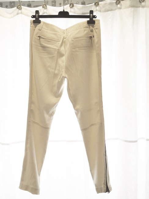 Genetic Denim The Kelsey Silk Tuxedo Trouser Pants White (ecru) with black piping on side