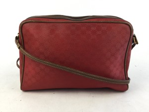 Gucci Red Coated Canvas Shoulder Bag