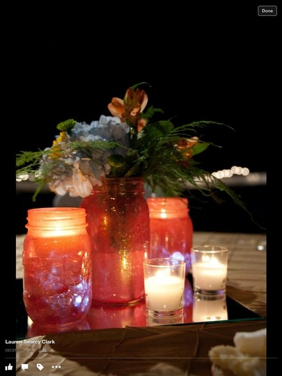 Coral Mason Jars Reception Decoration