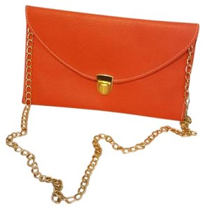 Grainy Leather Gold Hardware Orange Clutch