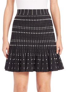 Alexander McQueen Pleated Striped Zip Mini Skirt Black