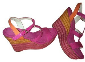 Nine West Pink and orange summer Wedges