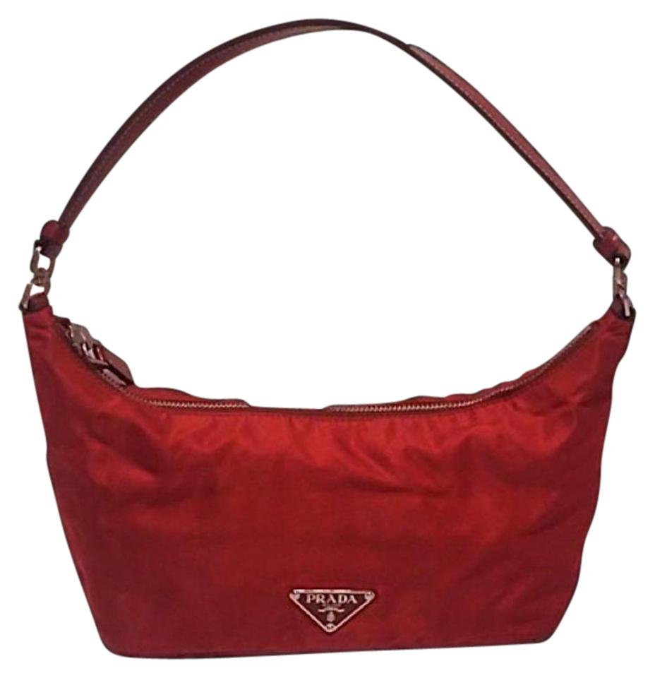 d19221c8ebe6 Prada Vintage Leather Handle Handbag Red Nylon Baguette - Tradesy