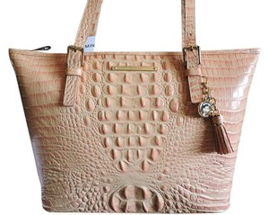 Brahmin Croc Emboss Leather Medium-large Color & Tote in Rose/Peach