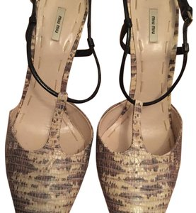 Miu Miu Cream/tan with black straps Pumps