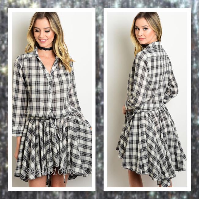 Other short dress Gray and Ivory Plaid Skater A Line Junior Free People on Tradesy