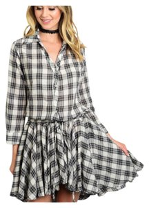 Other short dress Gray and Ivory Junior Plaid Shirt Button Down Summer on Tradesy