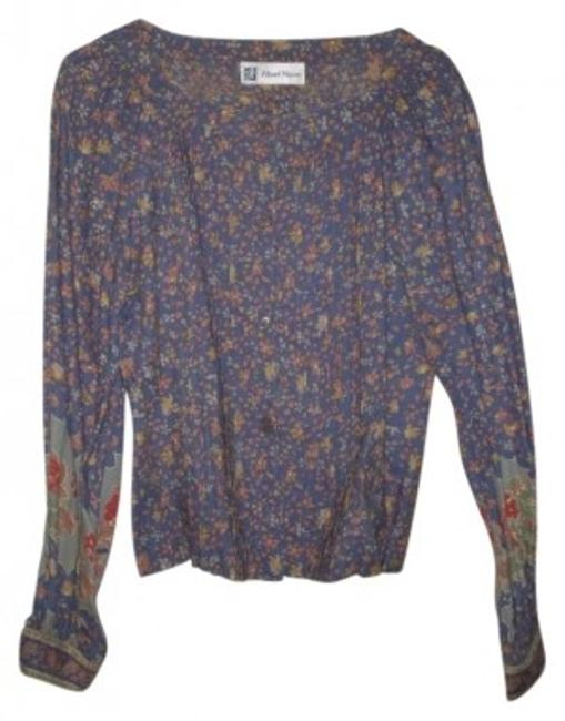Albert Nipon Top Blue with flora print