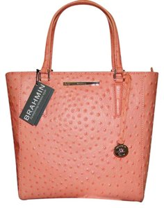 Brahmin Harrison Carryall Leather Tote in Peach