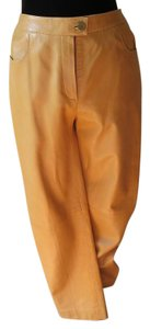 Chanel Classic Paris Leather Jeans Leather Straight Pants ocher