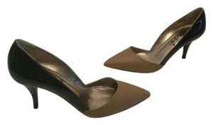 Lanvin Brown leather and black patent all leather Italian E36 Pumps