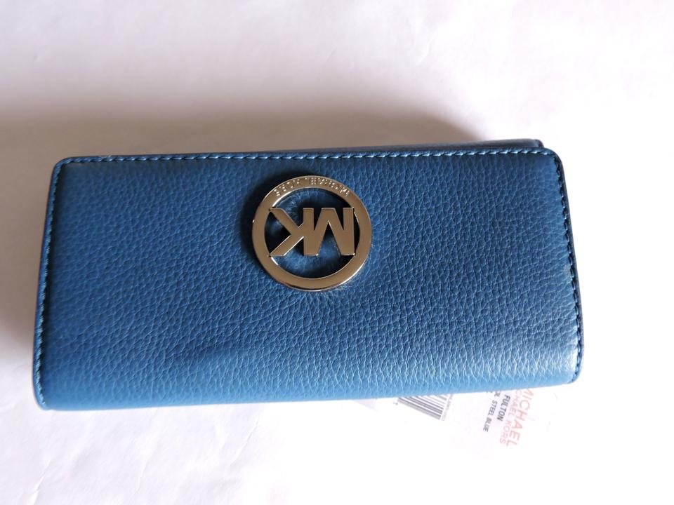 5cf28111cb6593 Michael Kors Steel Blue Fulton Carryall Pebbled Leather Wallet - Tradesy