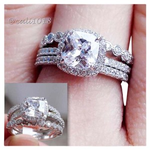 Other 3pc AAA CZ & White Topaz Wedding Ring Set Sz 7