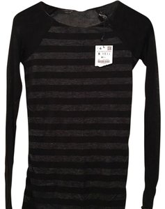 Zara Stripped Long Sleeve Stripes T Shirt Black/White