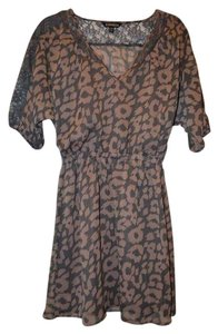 Express short dress Grey/Nude Chiffon Animal Print Leopard on Tradesy