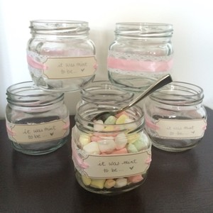 Pink Lace & Navy Blue Diy Mint Jars