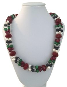 Handmade Semi-Precious Ruby, Saphire, Crystals, Emerald and Freshwater Pearl Necklace