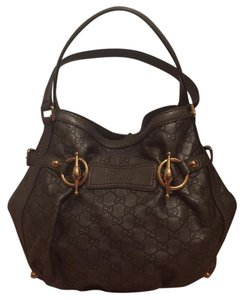Gucci Leather Signature Leather Embossed Horsebit Tote in Gray